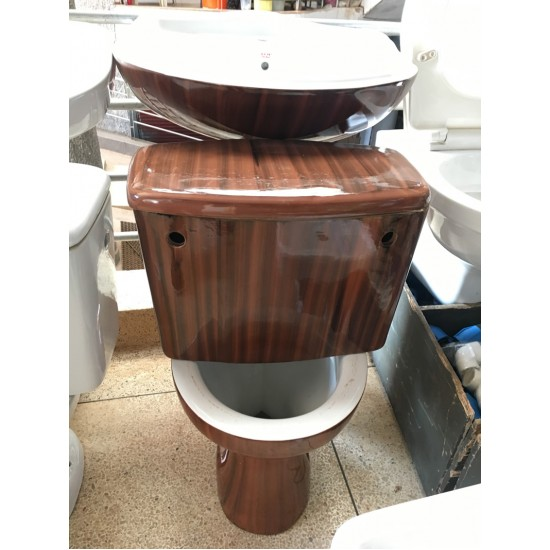 Top Anchor Ceramic Toilet Set Toilet Pan Close Coupled Cistern, Seat and Sink